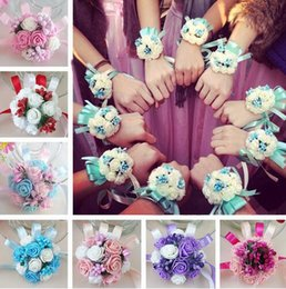 $enCountryForm.capitalKeyWord Australia - Wrist Corsage Bridesmaid Sisters Hand flowers Artificial Bride Flowers For Wedding Dancing Party Decor Bridal Prom GB294