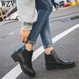 $enCountryForm.capitalKeyWord Canada - New Hot Style Fashion Women Boots Round Head Thick Bottom Pu Leather Waterproof Woman Martin Boots Ankle Spring autumn E221