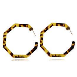 Hot Bar UK - Hot Sale Acetate Acrylic alloy Geometric Earrings Worn Gold Plating Leopard Tortoise Shell Circle Disc Earrings with Metal Bar