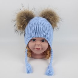 43c66cc847980e Kids Rain Hats Australia - Children Cute Winter Hats Two Faux Raccoon Fur  Pompom Hat Boy