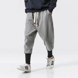 Wholesale printed thick elastic resale online - Men Winter Thick Wool Casual Pants Japanese Fashion Loose Harem Pant Male Long Warm Boot Trousers Plus Size M XL