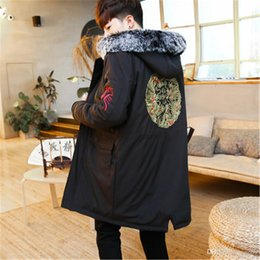 Chinese Kung Fu Jackets Canada - Traditional Chinese style jacket Winter really raccoon hooded collars Cloth Coat Wing chun Kung fu thick embroidery jacket M3-693