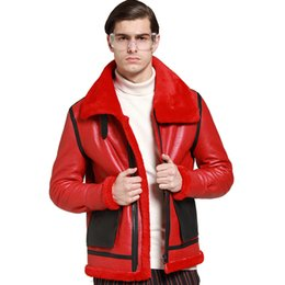 sheep winter coat men UK - 2019 New Quality winter genuine leather clothing male genuine sheep leather men's clothing outerwear red men's wiinter warm coat