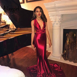 v dresses NZ - Slaygirl Red Sexy Long Bodycon Deep V Neck Elegant Party Bandage Autumn Christmas Maxi Dress New Year Backless Q190530