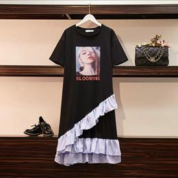 T Shirt Ruffle Dress Australia - Short Sleeve Printed Girl T-shirt Dress Plus Size Dress Fashion Sweet Ruffles Design Summer Womens Dress 2019 Hot Sale