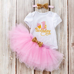 2b925001db 2019 New Ins Baby girl Birthday Outfits Clothing set Bodysuit Short sleeve  +Tutu skirt+Sequins Bow Headband 3pcs set Pink Rose Hotsale