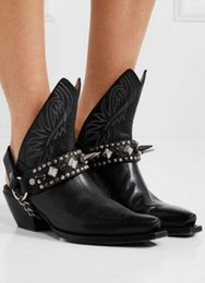 Rock Blocks Australia - 2019 new arrival women black boots block heel ladies ankle boots women rock booties spike stud western booties point toe botas