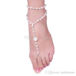 bridal anklets UK - Foot Jewelry Pearl Anklet Chain Barefoot Sandal Bridal Beach Ankle Bracelet C00322 BARD