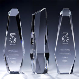 Crystals Souvenir Australia - Customized LOGO Modern Hand made Crystal Trophy Cup Prize Trophies Encourage Souvenirs Glass Awards Factory Supply