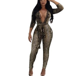 5fd1d05a99fe FREE OSTRICH Fashionable women s sexy tight-fitting long-sleeved African  print V-neck party casual trend comfortable jumpsuit