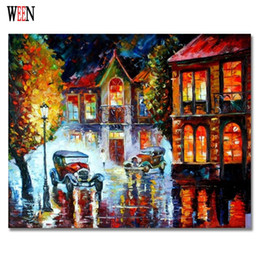 cities paintings 2019 - city picture WEEN City Night Wall Pictures By Numbers DIY Hand Painted For Living Room Acrylic Modern Oil Painting By Nu