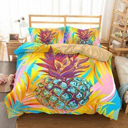 $enCountryForm.capitalKeyWord Australia - 2 3pcs Fruit Pineapple Bedding Set Queen Full King Size Kids Cartoon Microfiber Duvet Cover Set Geometry Design Bed Linen
