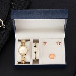 $enCountryForm.capitalKeyWord NZ - New 4 Pcs Women Bracelet Watch Set Diamond watch Steel Bracelet Crystal earrings Ring With Watch box Big Gift Set for girlfriend
