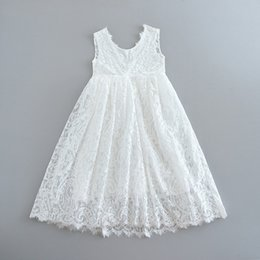 eyelashes retail Australia - Retail White Lace Girls Dress Eyelash Tiered Dress Kids Princess Dresses for Girls Baby Clothes 1-6Y
