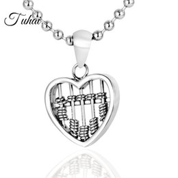 AbAcus chArms online shopping - Trendy Heart Rectangle Shape Beads Abacus Charms Pendant Necklace for Men Hip Hop Stainless Steel Jewelry Chain Necklaces