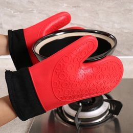 $enCountryForm.capitalKeyWord Australia - Microwave Oven Oven Insulation Non-slip Two Finger Kitchen Gloves Short Thick Double Layer Grade Silicone Gloves