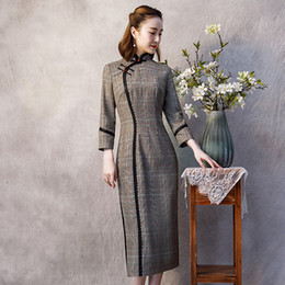 vintage shawl collar Canada - Shanghai Story autumn winter Chinese Traditional Dress Long Cheongsam Party Dresses women vintage vestido elegant Qipao with shawl