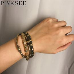 Bird Bracelets online shopping - Pinksee Simple Fashion Metal Bird Crystal Beads Geometric Bracelet for Women Fashion Charm Multilayer Jewelry Gift Adjustable