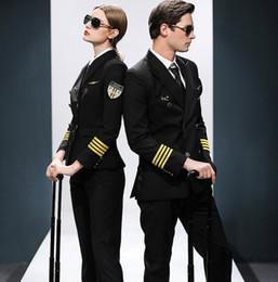 $enCountryForm.capitalKeyWord Australia - Airline co Flight attendant uniform KTV hotel professional suits Hat + Jacket + Pants Female Male captain suits air crew uniform