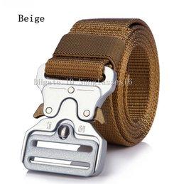 $enCountryForm.capitalKeyWord Australia - 125CM Heavy Duty Men Belt Mens Designer Belts Ceinture Khaki Beige Tactical Quick Release Buckle Silver Color Zinc Alloy Outdoor Waist Strap