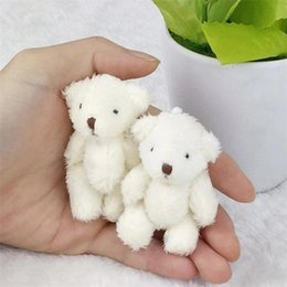mini doll bear joints Australia - 20170617 Mini Joint Bear Stuffed Plush Toys 6.5cm Cute White Teddy Bears Pendant Dolls Gifts Birthday Wedding Party Decor