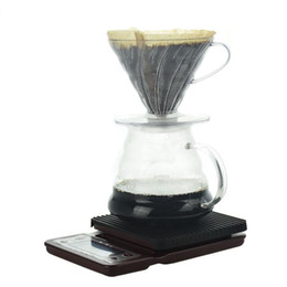 Großhandel Gießen Sie über Kaffee-Set V60 Kunststoff Pripper mit Papierfilter Kaffeekocher Küchenwaage mit Timer Barista Zubehör