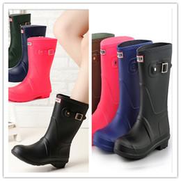 Woman Shoes Low Heels NZ - Fshion Girls Rainboots Mid-calf Low Heels Rain Boots Women Famous Brand Waterproof Rubber Water Shoes Ladies Outdoor Rainshoes 4 Colors