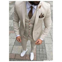 $enCountryForm.capitalKeyWord Australia - Custom Made Groomsmen Beige Groom Tuxedos Notch Lapel Men Suits Wedding Best Man Bridegroom (Jacket + Pants + Vest + Tie) L59
