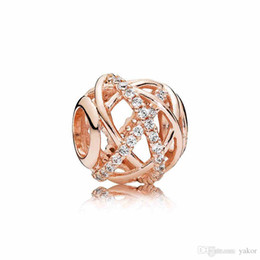 Luxo 18 K Rose ouro Escavado Galaxy Charme Set Caixa Original para Pandora DIY Pulseira CZ Diamante Contas Encantos Jóias acessórios venda por atacado