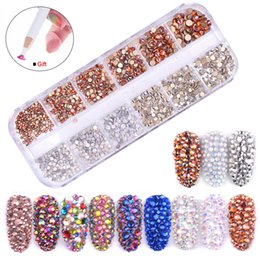 flat gem backs NZ - SVKDR Multi-size Glass Nail Rhinestones Mixed Colors Flat-back Crystal AB Starry 3D Charm Strass Gems Decoration For Nail Art