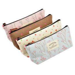 $enCountryForm.capitalKeyWord Australia - Portable Colorful Floral Flower Pattern Canvas Zipper Pencil Cases Lovely Fabric Flower Tree Pen Bags School Supplies Stationery