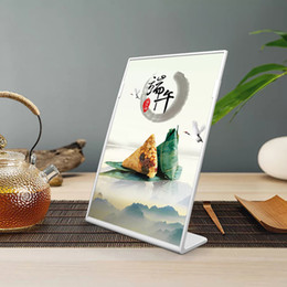 Wholesale A5 L Shape Tabletop Acrylic Menu Sign Holder Promotion Products Counter Leaflet Flyer Poster Holder Display Stands Frame