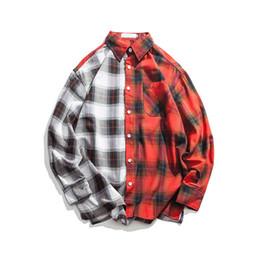 e057e24c040 Plaid Hip Hop Shirts UK - Japanese Harajuku Patchwork Buffalo Plaid Shirt  for Men Urban Boys