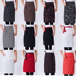 Catering Kitchens Australia - Half-length Waist Apron 14 Pattern Striped Kitchen Cooking Apron Pure Color For Work Dining Catering Chefs Waiters Uniform