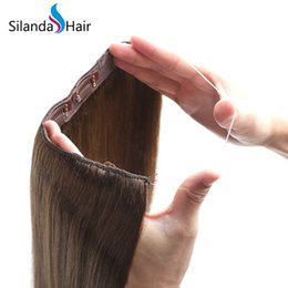 $enCountryForm.capitalKeyWord Australia - Silanda Hair High Quality #6 Straight Halo Hair Extensions Remy Hair Extension For Sale 20 inch 100g pack Free Shipping