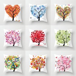 love chairs sofa UK - Colorful Flower Tree Cushion Covers Love Heart Tree Butterfly Snowflake Moon Sun Pillow Cases 44X44cm Sofa Chair Deocration