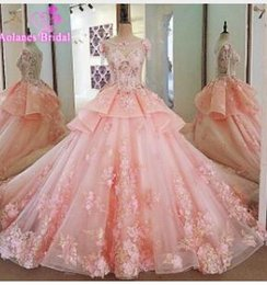 Petite Wedding Gown Pink NZ - Elegant Pink Wedding Dress 2017 Scoop Neck Sleeveless Ball Gown Cathedral Train Appliques Tulle Wedding Dresses Robe de mariageU29