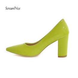 Red Leather Dresses Australia - Fashion Pointed Toe Chunky High Heels Patent Leather Women Pumps Dress Lazy Shoes Black White Apricot Red Yellow Color