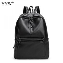 Discount korean style female backpack - New Travel Backpack Korean Women Female Rucksack Leisure Student School Bag Soft Pu Leather Women Bag Casual Backpack Fe