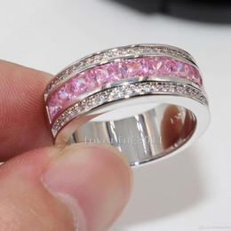$enCountryForm.capitalKeyWord Australia - Princess CUT Luxury Nice Pink Sapphire Diamonique 10KT White Gold Filled Women Simulated Diamond Wedding Engagement pandora Ring gift Sz5-11