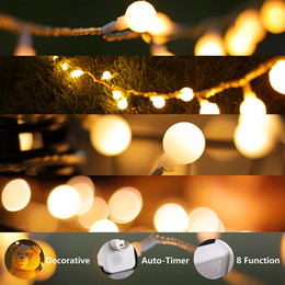 Discount led christmas lights transformer LED String Lights Plug in String Lights 100 LED Warm White Globe lights with Timer Waterproof with 30V Low Voltage Trans