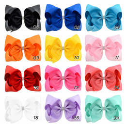 $enCountryForm.capitalKeyWord Australia - 8 Inch Jojo Siwa Hair Bow Solid Color With Clips Papercard Metal Logo Girls Giant Rainbow Rhinestone Hair Accessories Hairpin hairband YD019