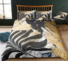 3d Bedding Set White Rose Australia - Thumbedding Dropship Black Leaves Bedding Sets Marble Pattern Fashionable Design Twin Full Queen King 3D Duvet Cover Set Colorful Bed Set