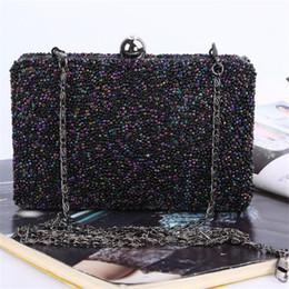 ladies box clutch handbags 2019 - Women Day Clutch Box Beads Handbags Fashion Chain Women Messenger Shoulder Evening Bags Party Wallet Ladies Flap Small B