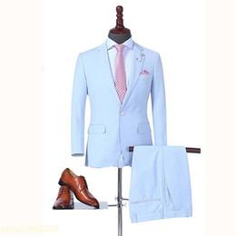 $enCountryForm.capitalKeyWord Australia - Custom made 2018 Spring Slim Fit Wedding Suits for Men Sky Blue Groom Mens Dinner Party Tuxedos Formal Office Prom Wear 2 Pieces