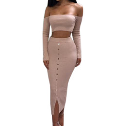 dbe214dd16 Girl Off Shoulder Buttons Skinny Split Knitted Women's Sets Winter Sexy  Bodycon Two Piece Set Crop Top and Pencil Skirt Outfits