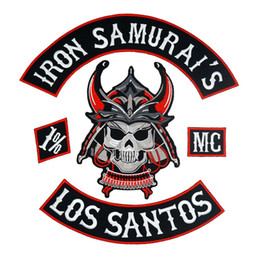 punk back patches NZ - IRON SAMURAI'S LOS SANTOS large punk embroidered iron on backing biker patch badge for jacket jeans 5 pieces  SET