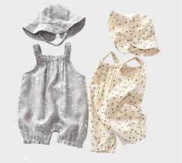 $enCountryForm.capitalKeyWord Australia - baby clothing kids Ruffles Sleeveless romper Little Stars Print Suspender 100% cotton baby romper + hat Baby & Kids Clothing