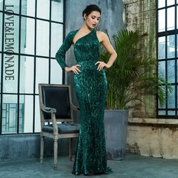 8accb47d6b3b9 Love&lemonade Open Back Separate Sleeve Elastic Sequins Long Dress  Lm81333-1green Y19012201