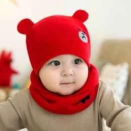 bfca301b89774b Fashion Baby Kids Bear Ear Hats Set 2pcs Knitted Warm Beanies Cap + Scarf  Ring Protects Ear Bonnet Baby Winter Hat + Scarf Suits